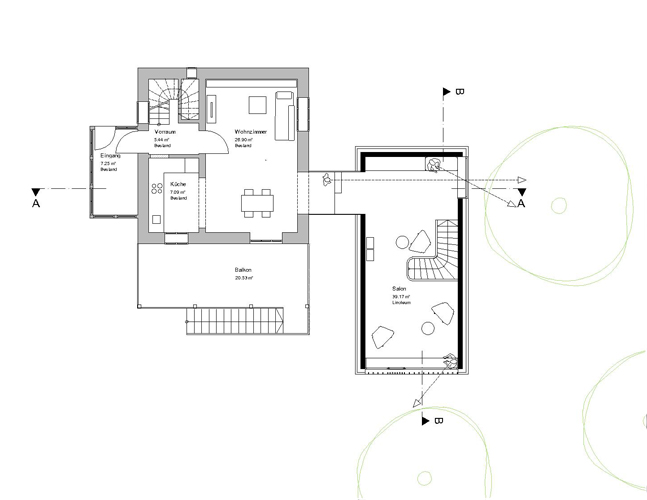 Zubau Umbau Einfamilienhaus SKOPOS Wien Architekturbüro Holzfassade Treppe Salon Ausblick