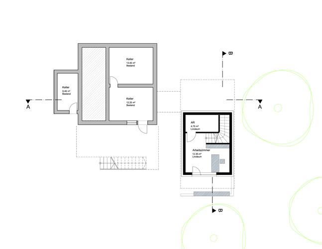 Zubau Umbau Einfamilienhaus SKOPOS Wien Architekturbüro Holzfassade Grundriss