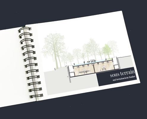 SKOPOS | Architektur Wettbewerb Turnsaalzentrum Kriehubergasse 4 unterirdische Sporthallen und Garderobenbereich im dicht verbauten städtischen Gebiet