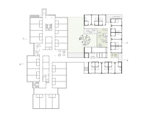 Wettbewerb Pflegeheim Weiz 1. Preis, SKOPOS Wien, Pflegestation, Aufenthaltsbereich, Terrassen, Rückzug